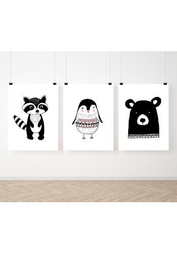 Skandinávská sestava dekoračních plakátů pro děti se zvířátky