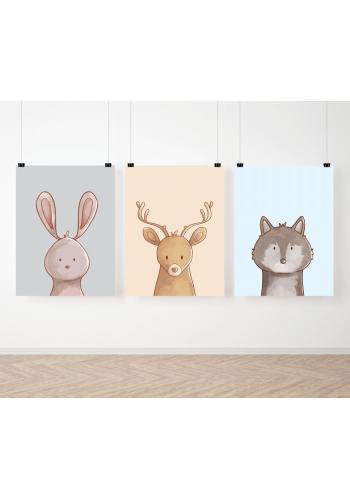 Barevná sada dětských plakátů se zvířátky