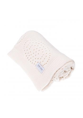 Smetanová pletená bambusová deka