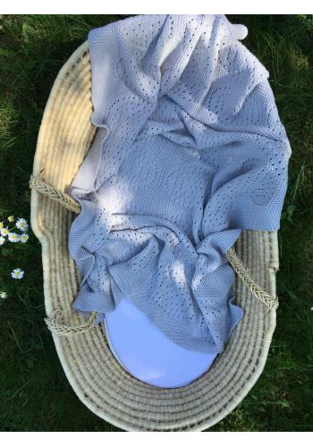 Šedá dětská pletená bambusová deka