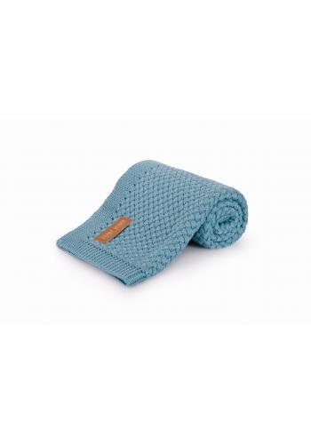 Modrá pletená dětská bambusová deka