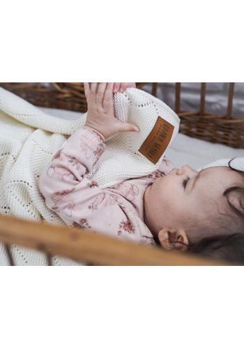 Smetanová 100% bambuová pletená deka