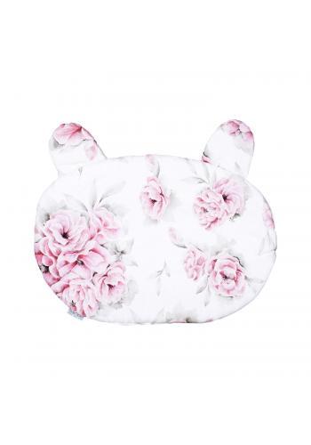 Detský bavlnený vankúš s uškami - ružové kvety