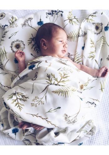 Dětský bavlněný polštář s oušky - luční květiny