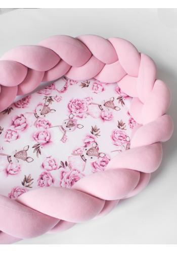 Pletené dětské hnízdo PREMIUM 2 v 1 - růžové / jeleni