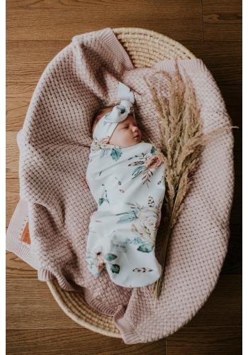 Kapesní kokon pro miminka s motivem vintage květin + čepice a čelenka