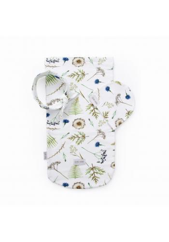 Kapesní kokon pro miminka s motivem lučních květů + čepice a čelenka