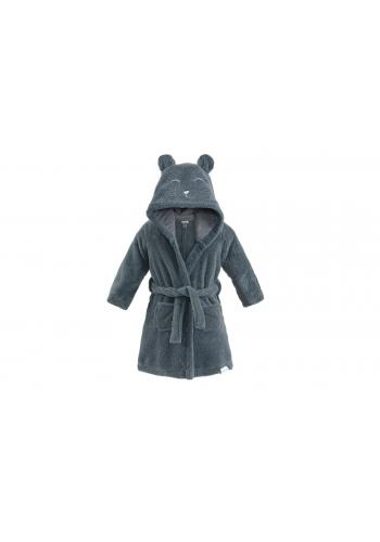 Dětský župan v tmavě šedé barvě s kapucí a kapsami