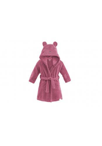 Dětský župan v růžové barvě s kapucí a kapsami