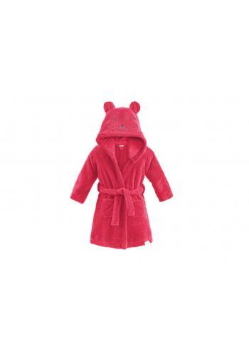 Dětský župan v malinové barvě s kapucí a kapsami