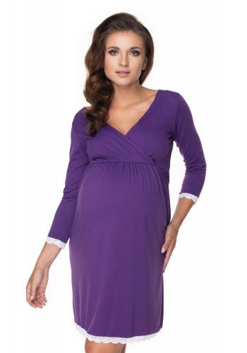 Fialová kojící a těhotenská noční košile s 3/4 rukávem