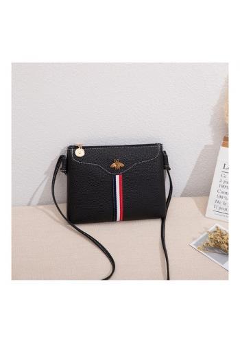 Mini dámská kabelka černé barvy s kontrastním pásem