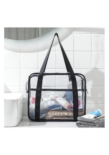 Dámská průhledná kosmetická taška v černé barvě