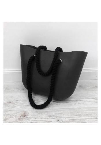 Silikonová dámská kabelka černé barvy s černými ručkami