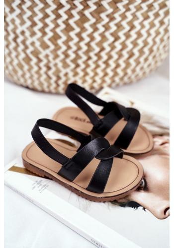 Černé nazouvací sandály s gumičkou pro děti