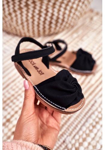 Černé semišové sandálky se suchým zipem pro děti