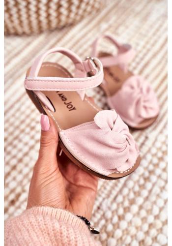 Dětské semišové sandálky se suchým zipem v růžové barvě