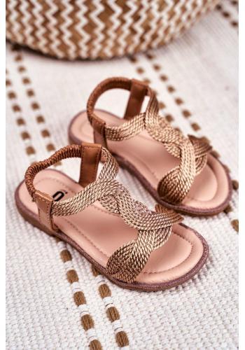 Krásné dětské sandálky růžovo-zlaté barvy s gumičkou