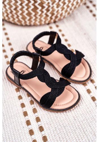 Černé krásné sandálky s gumičkou pro děti