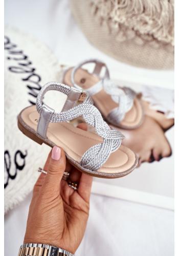 Dětské krásné sandálky s gumičkou ve stříbrné barvě