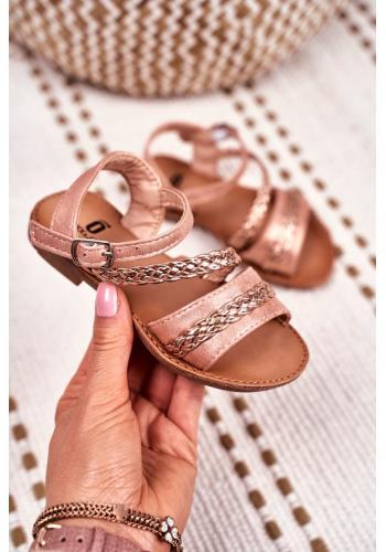 Elegantní dětské sandálky růžovo-zlaté barvy