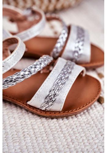 Stříbrné elegantní sandálky pro děti