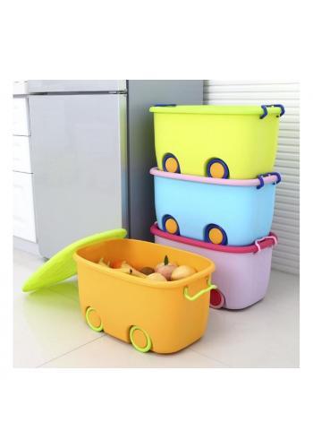 Box na hračky s kolečky v oranžovo-zelené barvě