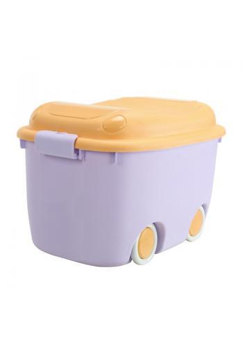 Fialovo-oranžový organizér na hračky s kolečky