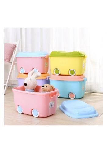 Organizér na hračky s kolečky v růžovo-modré barvě