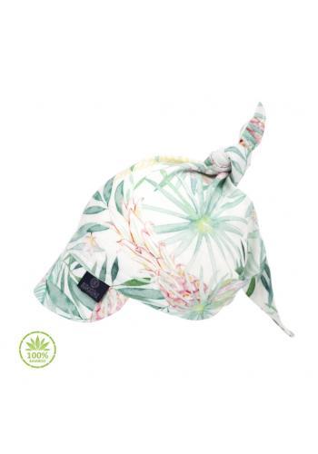 Vázaná šátek s kšiltem s tropickým motivem - 100% bambus