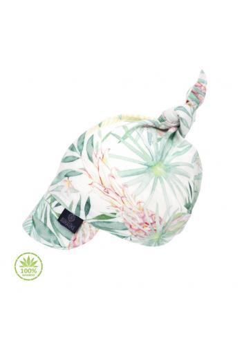 Dětská šátek s kšiltem s tropickým motivem na gumičce - 100% bambus