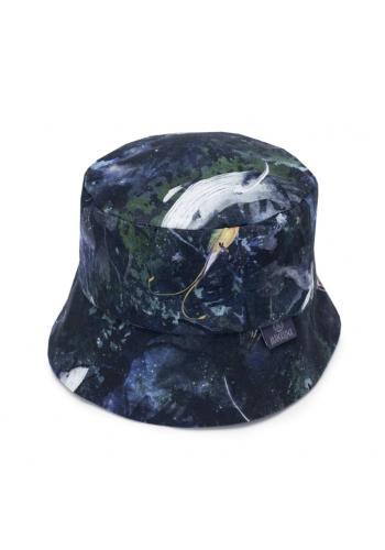 Tmavomodrý bavlněný klobouk s motivem magického lesa pro děti