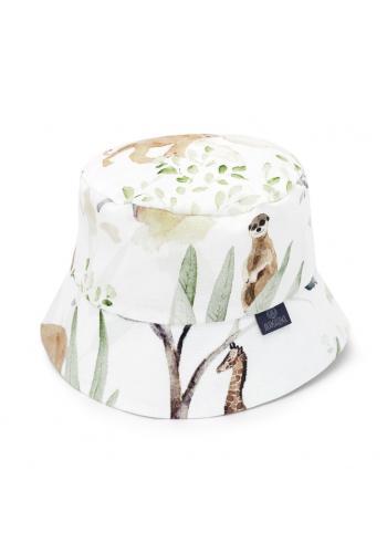 Dětský bavlněný klobouk s motivem Savany v bílé barvě