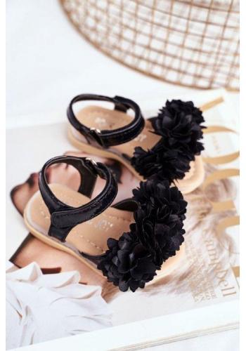 Černé blikající dětské sandálky zdobené květinami