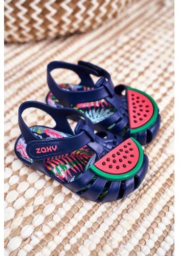 Dětské modré sandály na suchý zip s melounem