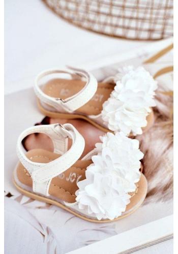 Bílé svítící dětské sandálky zdobené květinami