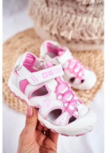 Růžovo-bílé dívčí sandály Big Star na suchý zip