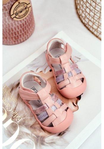 Dětské růžové sandály na suchý zip s metalickým zdobením