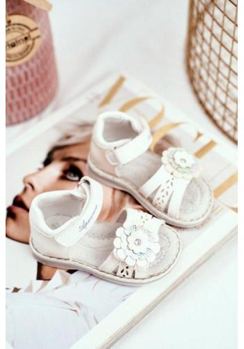 Sandálky s květem na suchý zip v bílé barvě pro holčičky