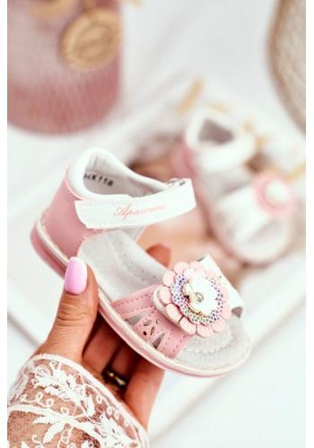 Růžové sandálky s květem na suchý zip pro holčičky