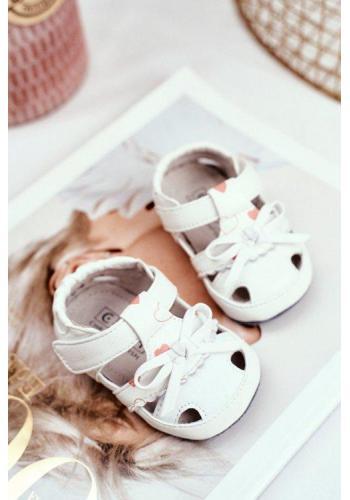 Dětské sandálky na suchý zip bílé barvy pro holčičky
