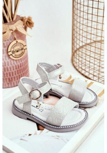 Třpytivé sandály na suchý zip pro dívky šedé barvy