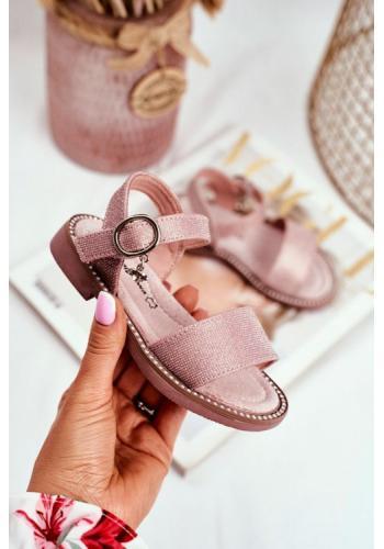 Růžové třpytivé sandály na suchý zip pro dívky