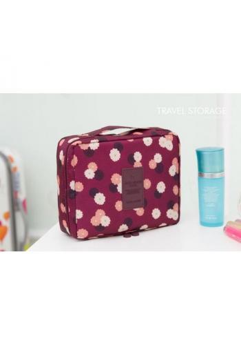 Bordó kosmetická taška pro dámy s květinovým motivem