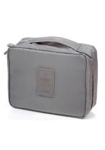 Unisex kosmetická taška s množstvím kapes šedé barvy