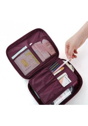 Unisex kosmetická taška s množstvím kapes vínové barvy