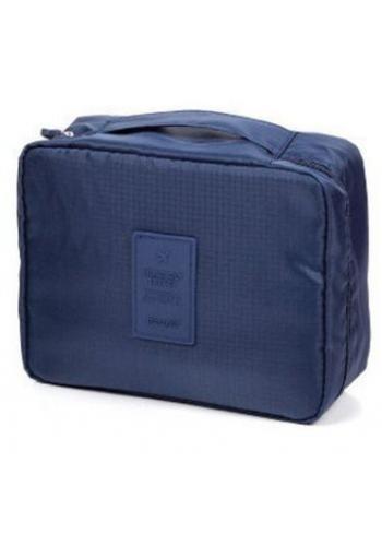 Kosmetická taška tmavě modré barvy s množstvím kapes