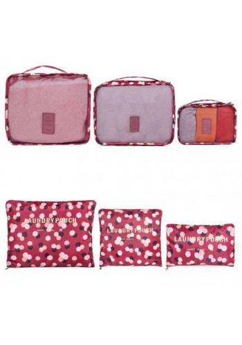 Tmavomodrá sestava 6 organizérů do kufru s tečkovaným vzorem