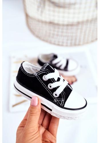 Klasické dětské nízké tenisky černé barvy