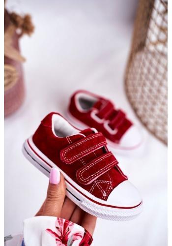 Červené dětské tenisky na suchý zip